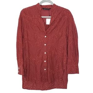 Zara Woman Button Up Eyelet High Low Tunic Top, Sm